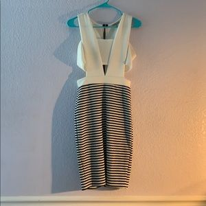 Charlotte Russe White and Black Midi dress